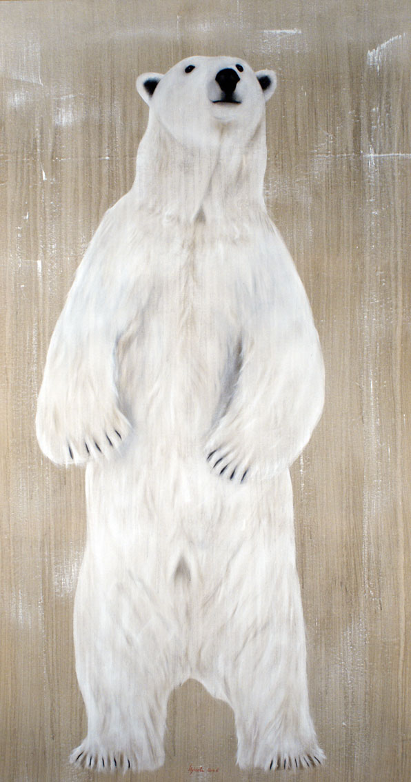 standing pb polar bear thierry bisch animal painter editions