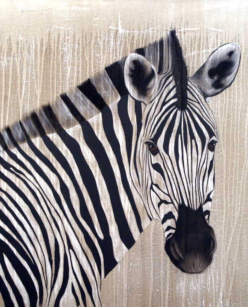 Zebra 4 Zèbre Thierry Bisch Artiste Peintre Animaux Espèces Menacées