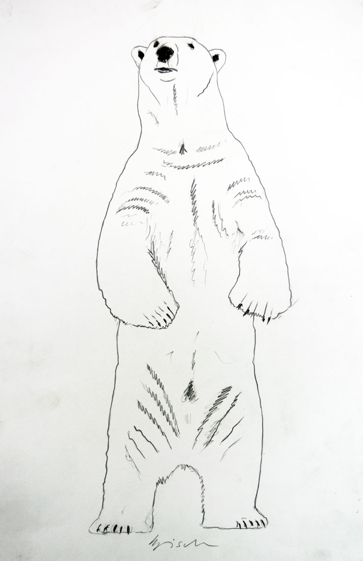 standing polar bear animal painting thierry bisch 動物画