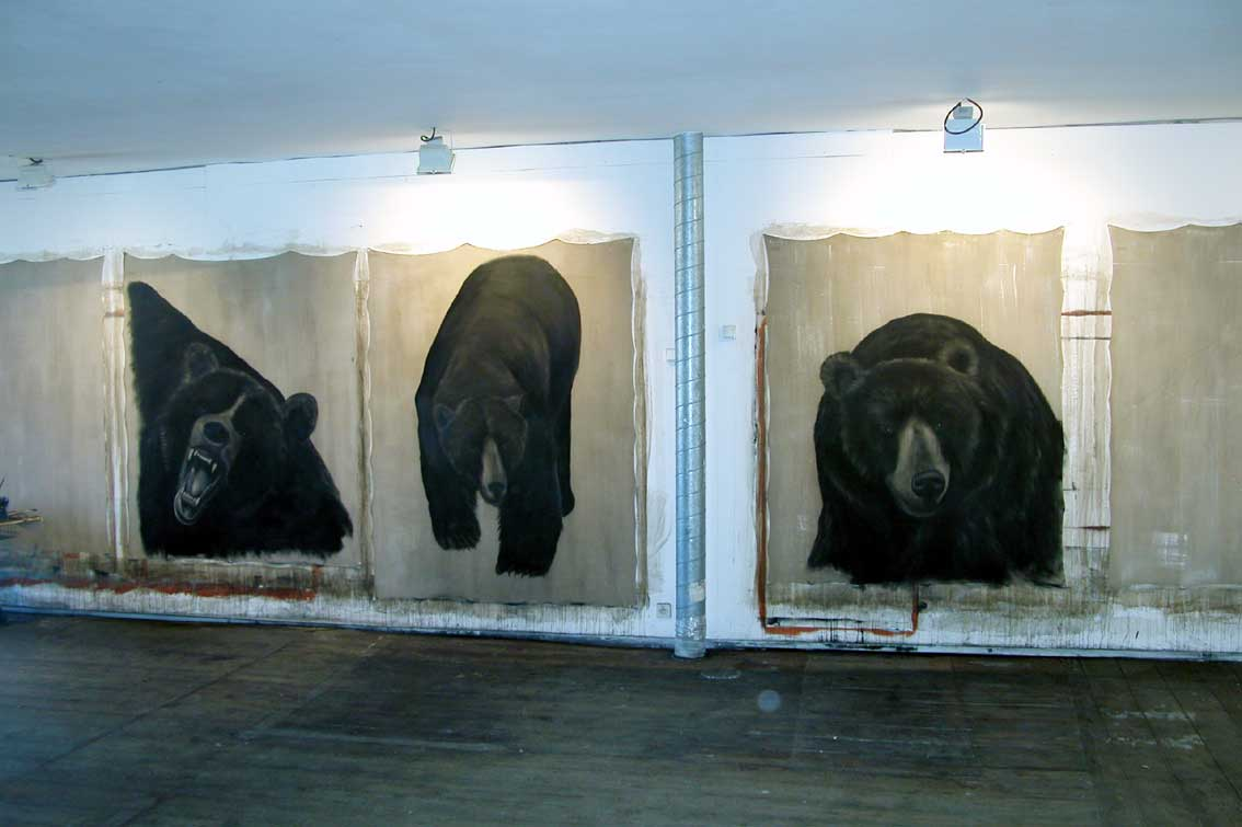Ours Bear-bear Thierry Bisch painter animals painting art decoration hotel design interior luxury nature biodiversity conservation