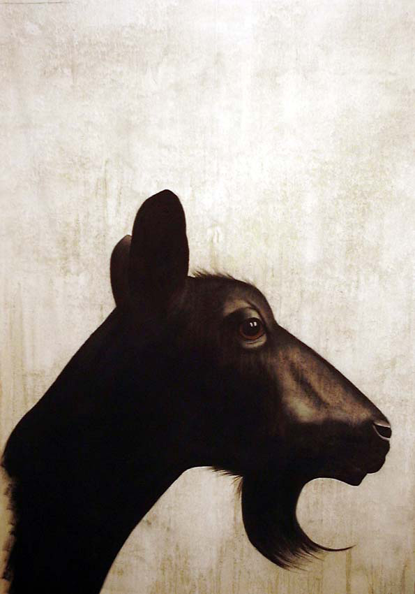 Chevre goat-black Thierry Bisch Contemporary painter animals painting art  nature biodiversity conservation