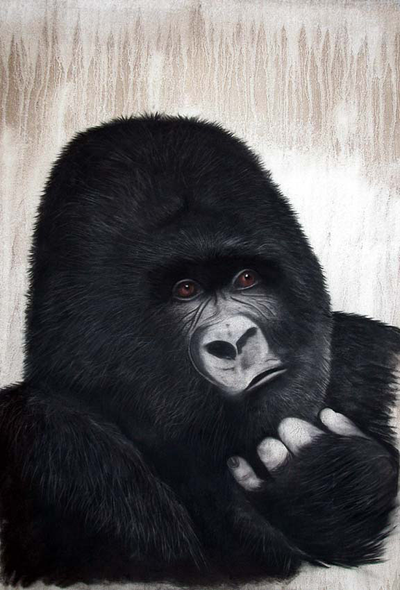 Molho gorilla-ape-monkey Thierry Bisch Contemporary painter animals painting art  nature biodiversity conservation