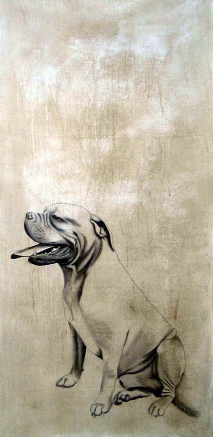 Chien Dogue de Bordeaux Bordeaux-mastiff-dog-pet Animal painting by Thierry Bisch pets wildlife artist painter canvas art decoration