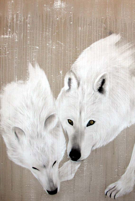 WHITE WOLVES divers Thierry Bisch painter animals painting art decoration hotel design interior luxury nature biodiversity conservation
