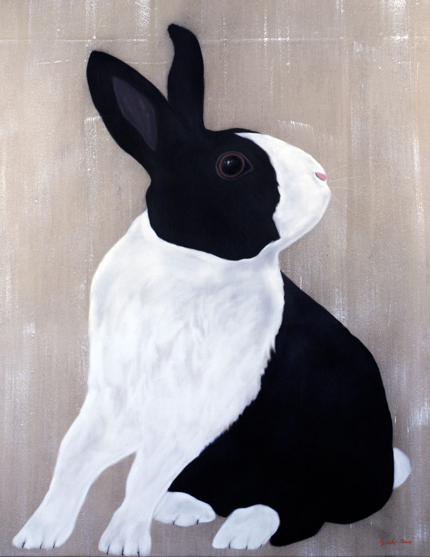 LAPIN PIE rabbit-domestic-black-and-white Animal painting by Thierry Bisch pets wildlife artist painter canvas art decoration