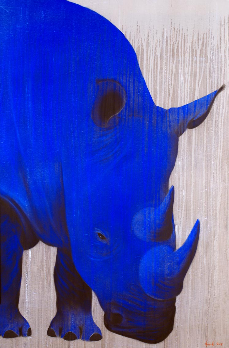 Blue-Rhino Rhinoceros%20blue%20rhino Thierry Bisch painter animals painting art decoration hotel design interior luxury nature biodiversity conservation