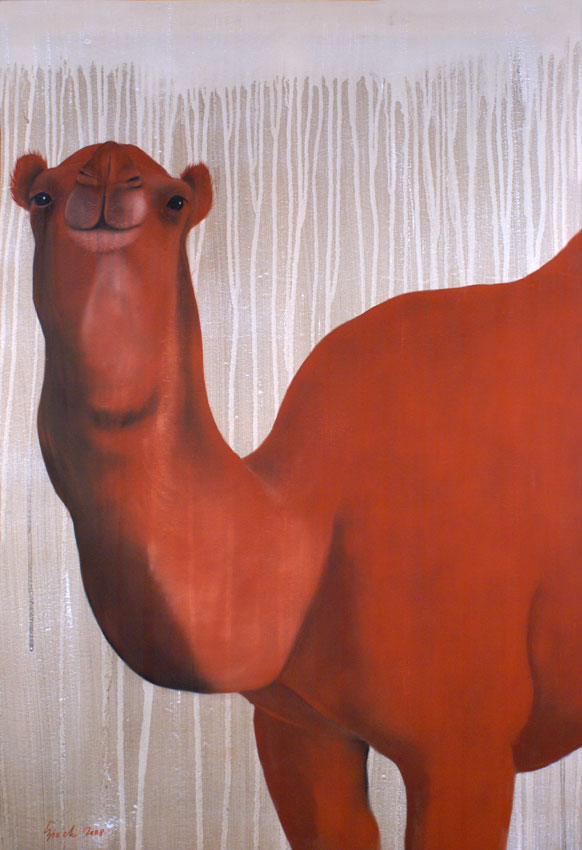 RED CAMEL Camel-dromedary-red Thierry Bisch painter animals painting art decoration hotel design interior luxury nature biodiversity conservation