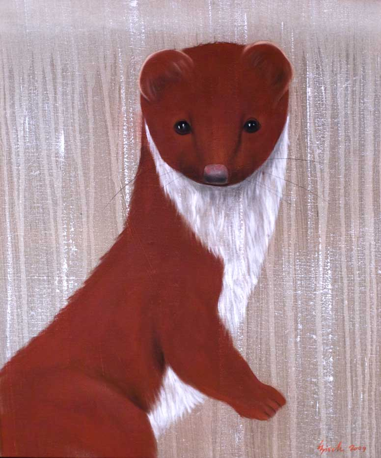 HERMINE ROUGE ermine Animal painting by Thierry Bisch pets wildlife artist painter canvas art decoration