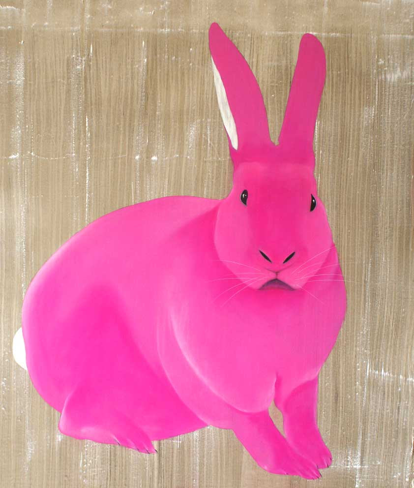LAPIN ROSE-rabbit-Thierry Bisch Animal Painter Editions
