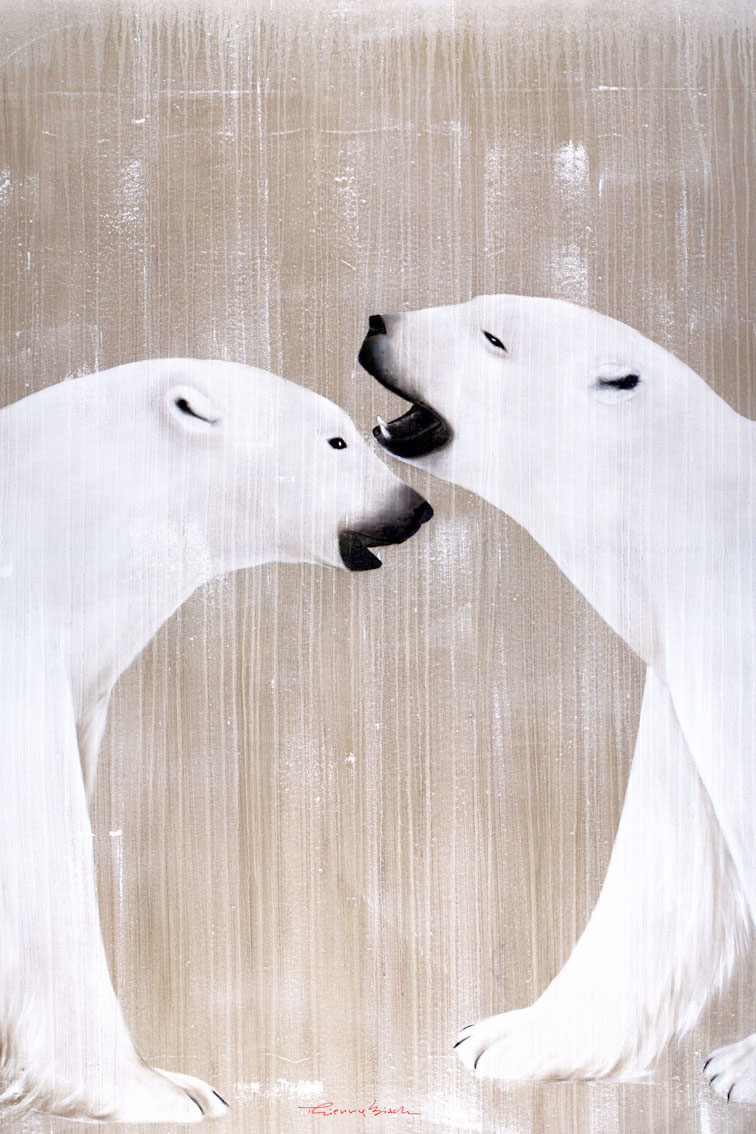 2 POLAR BEARS PLAYING divers Thierry Bisch painter animals painting art decoration hotel design interior luxury nature biodiversity conservation