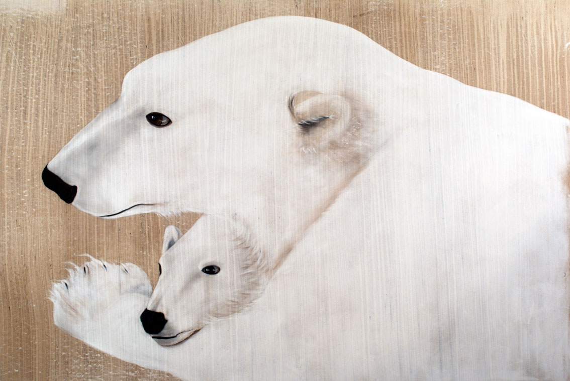MOTHER-AND-CUB polar-bear-white-cub-mother-deco-decoration-large-size-printed-canvas-luxury-high-quality Thierry Bisch painter animals painting art decoration hotel design interior luxury nature biodiversity conservation