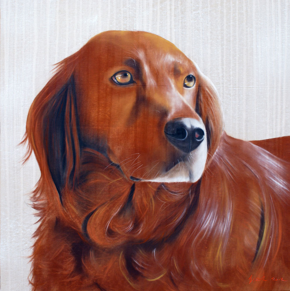 Eres Chien épagneul dog-spaniel-Irish-Setter-red-Setter-pet- Animal painting by Thierry Bisch pets wildlife artist painter canvas art decoration