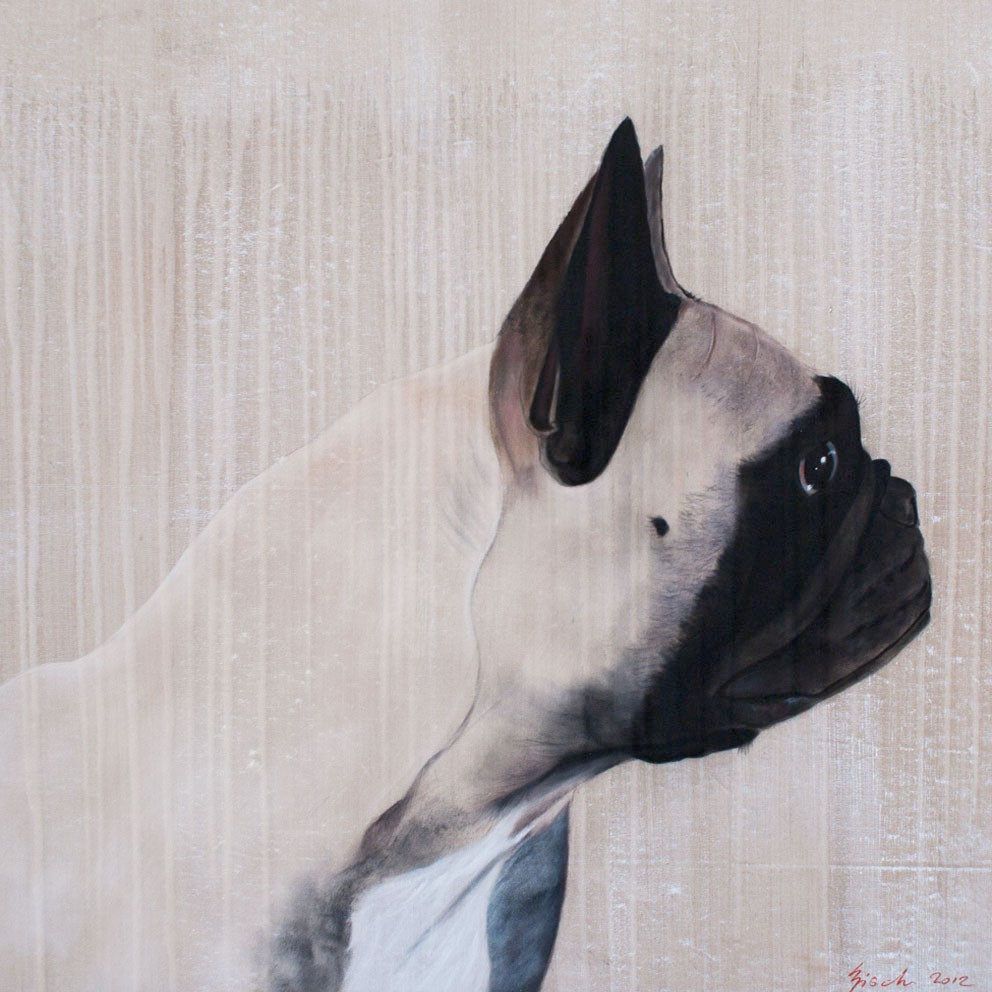 Felicia pug-dog-pet Animal painting by Thierry Bisch pets wildlife artist painter canvas art decoration