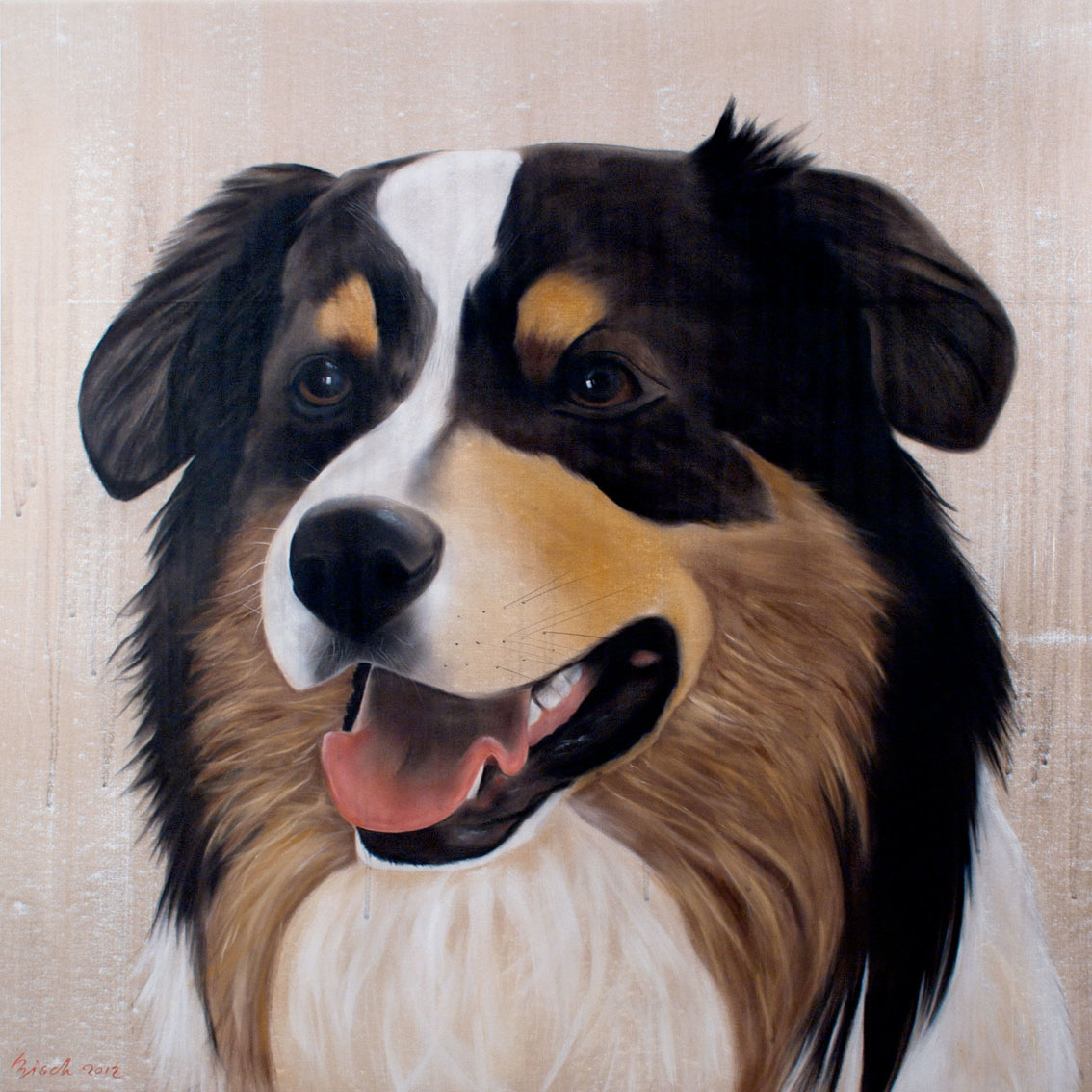 Gus Dog Australian-shepperd-aussie-truffle-dog-pet Thierry Bisch Contemporary painter animals painting art  nature biodiversity conservation