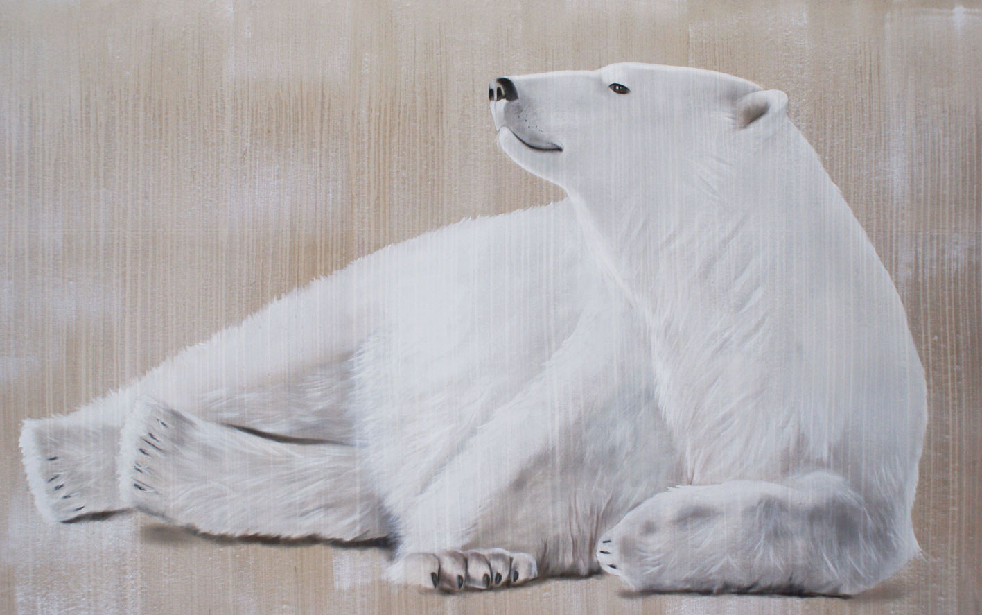 RELAXING-POLAR-BEAR-2 polar-bear-white-deco-decoration-large-size-printed-canvas-luxury-high-quality Thierry Bisch painter animals painting art decoration hotel design interior luxury nature biodiversity conservation