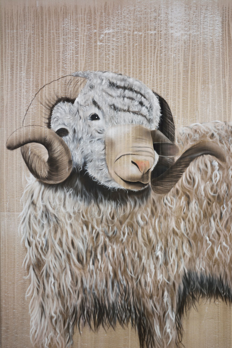 ARIES-3 ram-sheep Animal painting by Thierry Bisch pets wildlife artist painter canvas art decoration