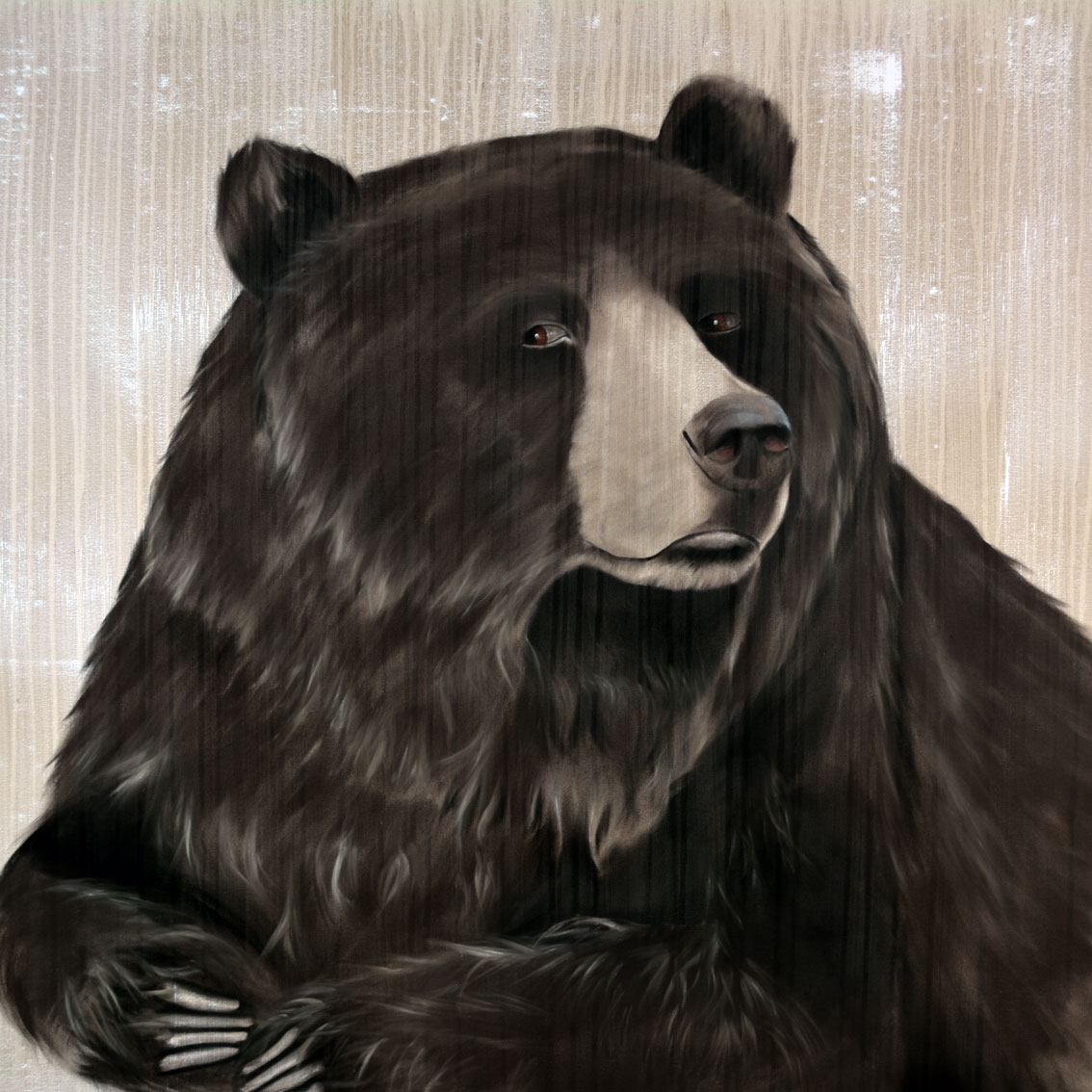 GRIZZLY BEAR BEAR-BROWN-BEAR-GRIZZLY Animal painting by Thierry Bisch pets wildlife artist painter canvas art decoration
