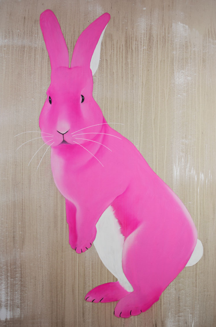 JOE RABBIT rabbit-pink-hare- Thierry Bisch painter animals painting art decoration hotel design interior luxury nature biodiversity conservation