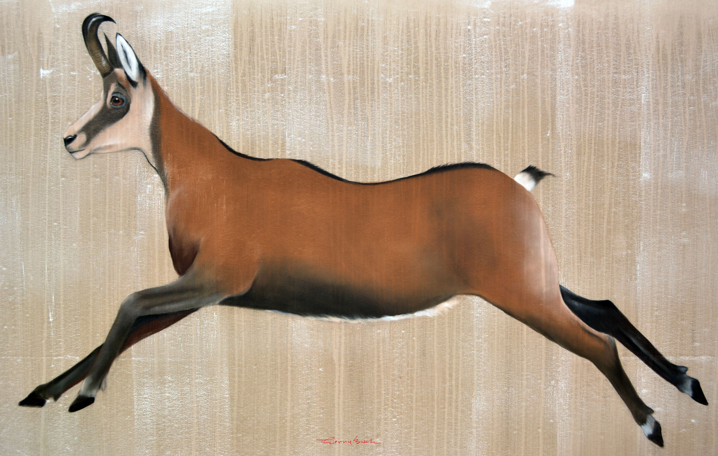 JUMPING CHAMOIS CHAMOIS-JUMPING-CHAMOIS Animal painting by Thierry Bisch pets wildlife artist painter canvas art decoration