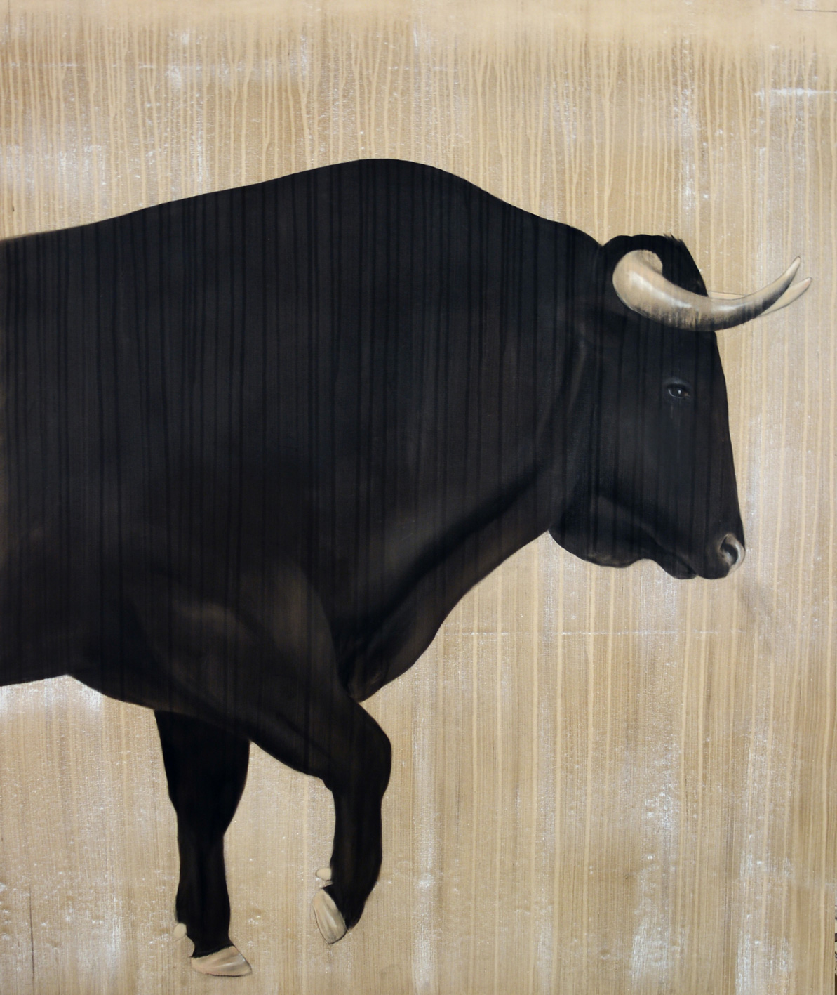 MIURA bull-fighting Animal painting by Thierry Bisch pets wildlife artist painter canvas art decoration