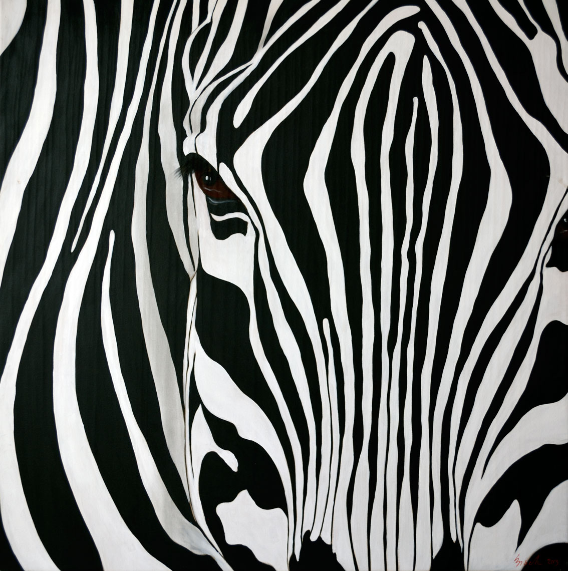 ZEBRA CLOSE UP divers Thierry Bisch Contemporary painter animals painting art decoration nature biodiversity conservation