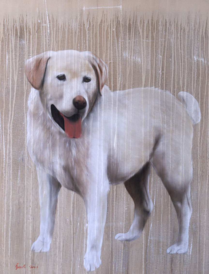 REA labrador-dog-hound-golden-retriever-white-dog-pet Animal painting by Thierry Bisch pets wildlife artist painter canvas art decoration