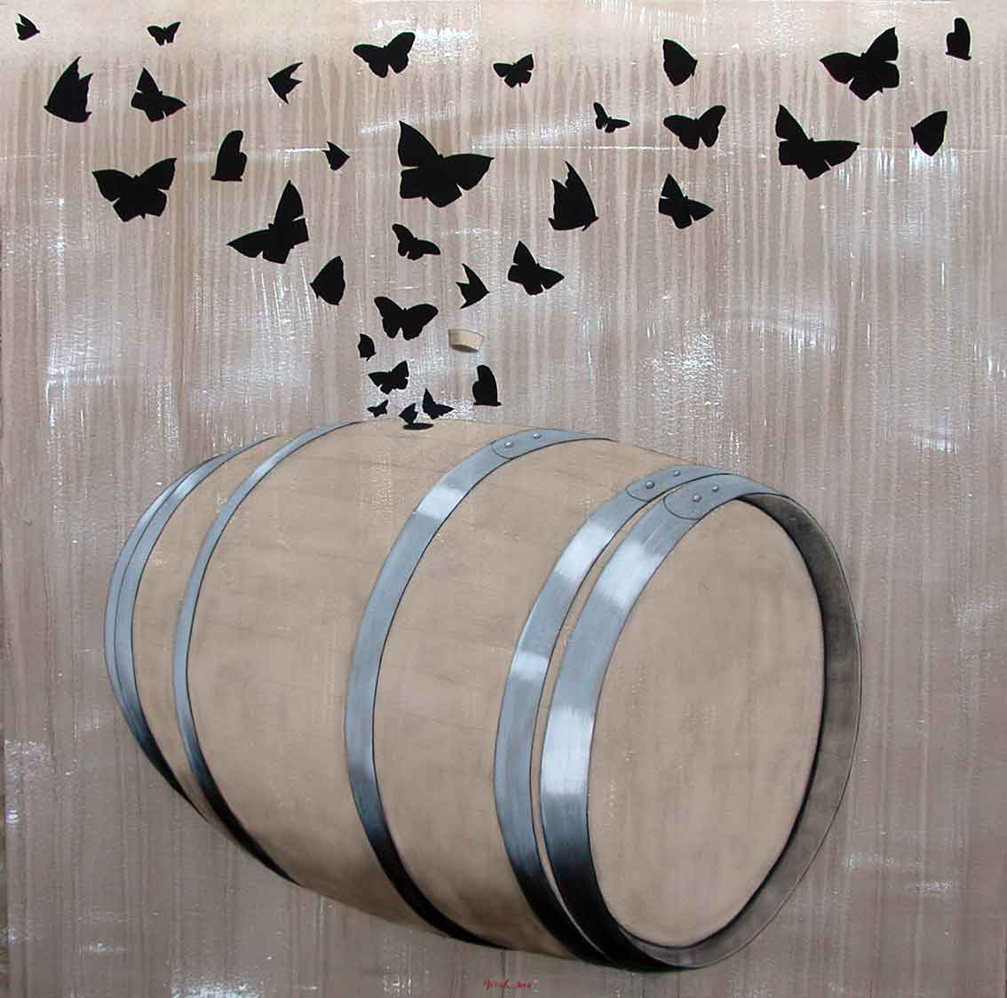 SOTB Barrel-butterfly Animal painting by Thierry Bisch pets wildlife artist painter canvas art decoration
