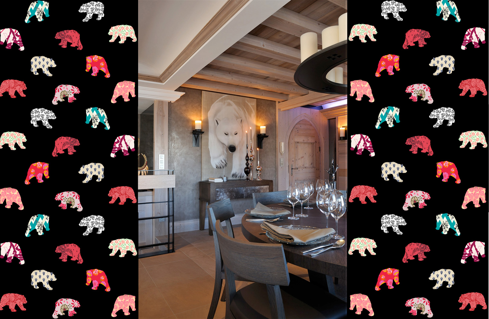 WPB-COURCHEVEL-PATTERNS polar-bear-white-deco-decoration-large-size-printed-canvas-luxury-high-quality Thierry Bisch painter animals painting art decoration hotel design interior luxury nature biodiversity conservation