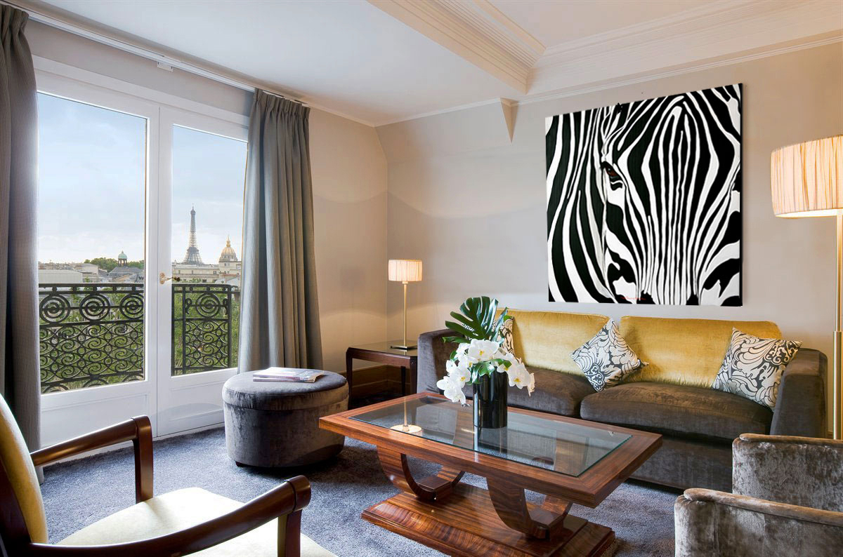 ZEBRE zebra-deco-decoration-large-size-printed-canvas-luxury-high-quality Thierry Bisch painter animals painting art decoration hotel design interior luxury nature biodiversity conservation