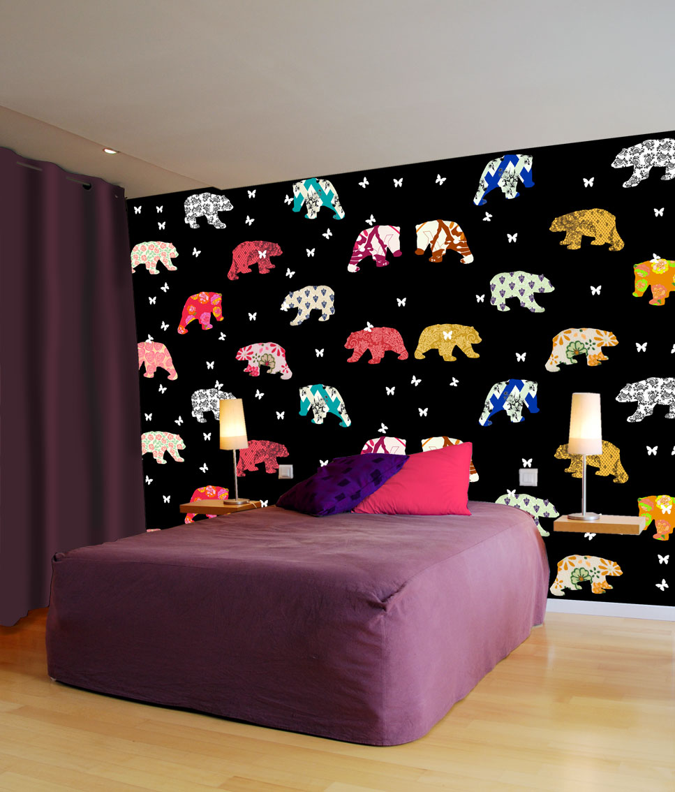 Bedroom-Bears-Patterns divers Thierry Bisch Contemporary painter animals painting art decoration nature biodiversity conservation