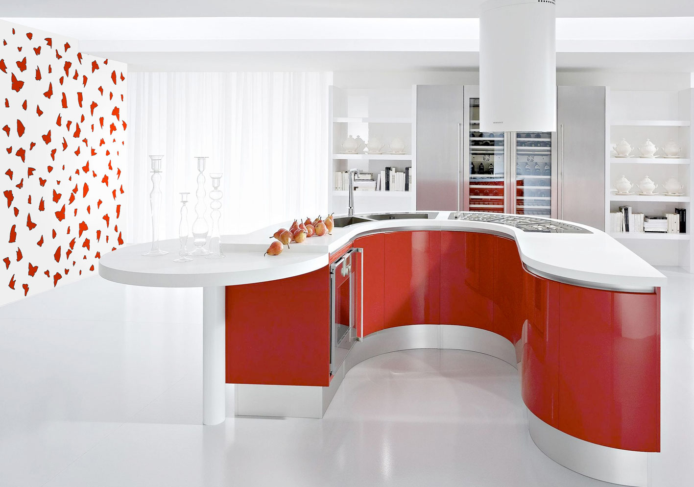 KITCHEN-RED-BUTTERFLIES divers Thierry Bisch painter animals painting art decoration hotel design interior luxury nature biodiversity conservation