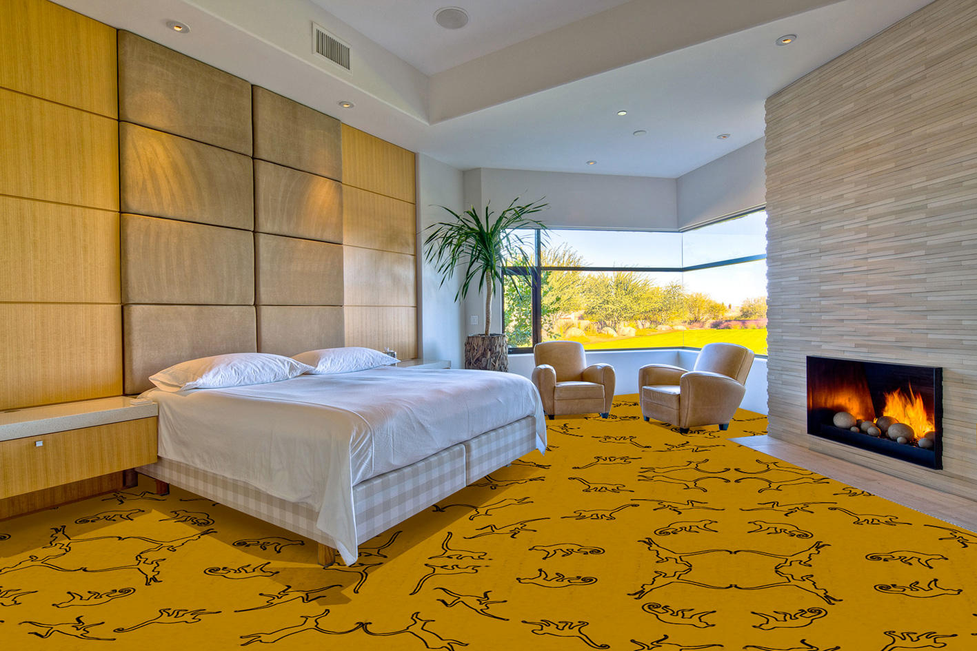 Yellow Monkey Carpet divers Thierry Bisch painter animals painting art decoration hotel design interior luxury nature biodiversity conservation