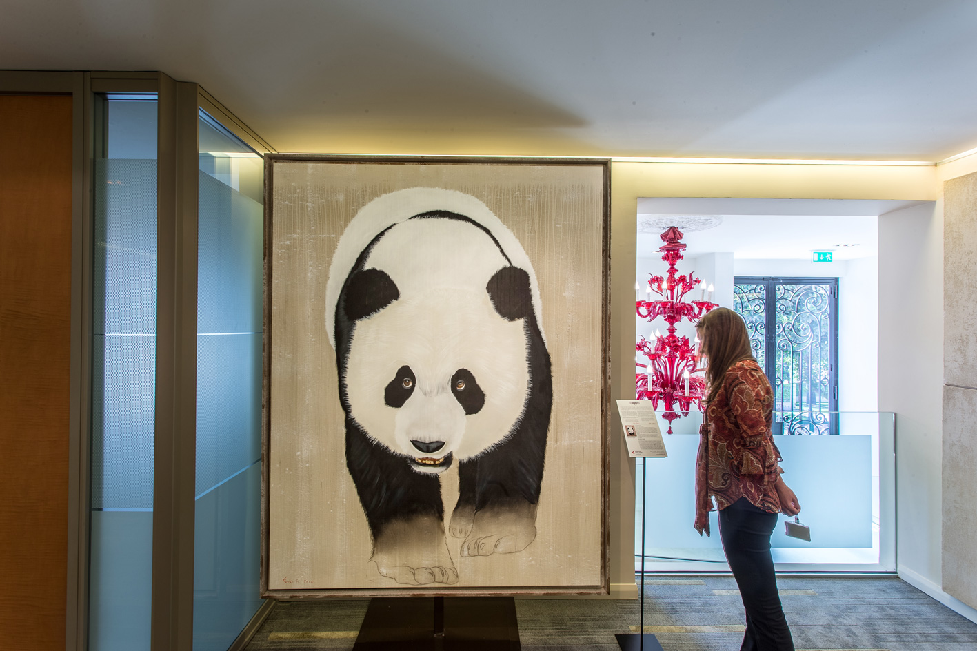 BARCLAY`S BANK panda-giant-ailuropoda-melanoleuca-threatened-endangered-extinction Animal painting by Thierry Bisch pets wildlife artist painter canvas art decoration