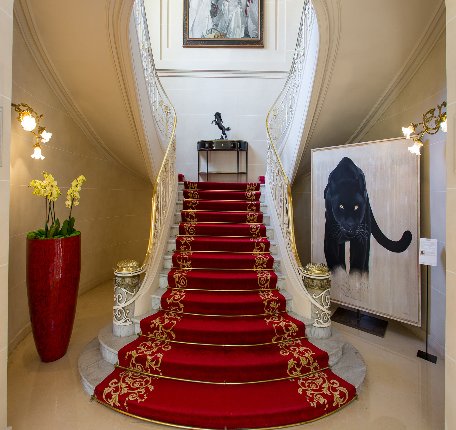 HOTEL HERMITAGE MONACO black-panther-java-leopard-threatened-endangered-extinction Thierry Bisch painter animals painting art decoration hotel design interior luxury nature biodiversity conservation