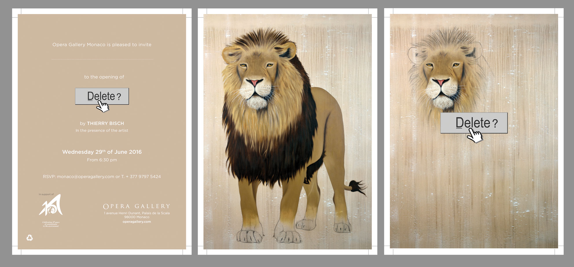 Invitation Monaco 2016 asiatic-lion-indian-persian-panthera-leo-persica-threatened-endangered-extinction Animal painting by Thierry Bisch pets wildlife artist painter canvas art decoration