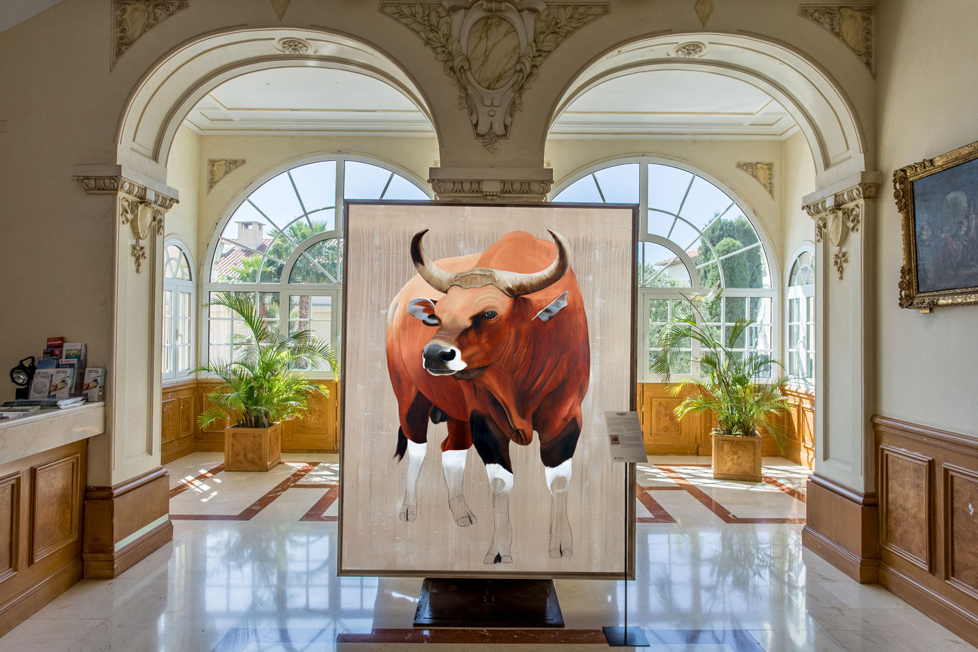 MAIRIE DE MONACO banteng-bos-javanicus-asian-red-bull-threatened-endangered-extinction Animal painting by Thierry Bisch pets wildlife artist painter canvas art decoration