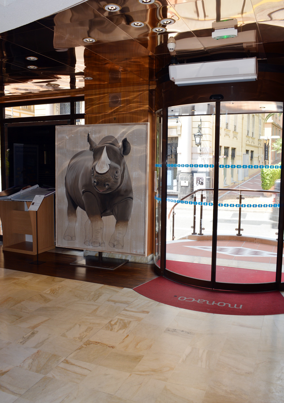 OFFICE DE TOURISME MONACO rhinoceros-black-rhino-diceros-bicornis-threatened-endangered-extinction Animal painting by Thierry Bisch pets wildlife artist painter canvas art decoration