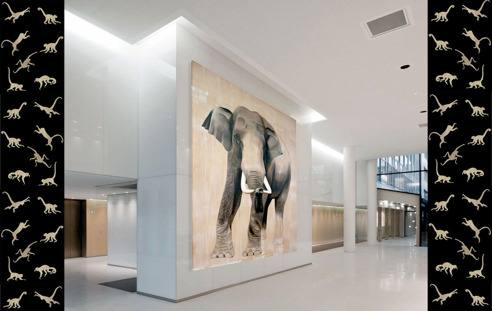 ELEPHAS-MAXIMUS asian-elephant-elephas-maximus-deco-decoration-large-size-printed-canvas-luxury-high-quality Thierry Bisch Contemporary painter animals painting art  nature biodiversity conservation
