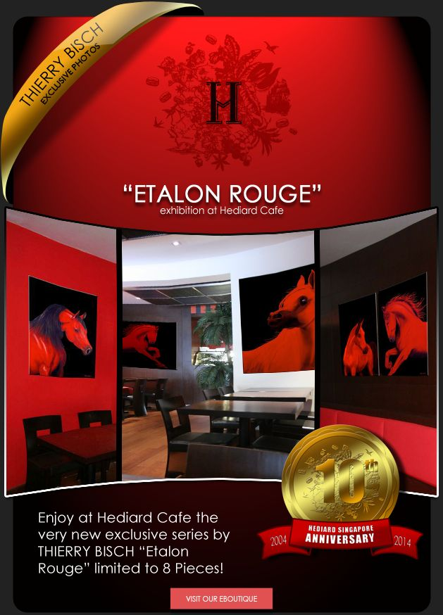 CAFÉ HEDIARD-SINGAPORE Horse-red-stallion-arabian-yearling- Thierry Bisch painter animals painting art decoration hotel design interior luxury nature biodiversity conservation