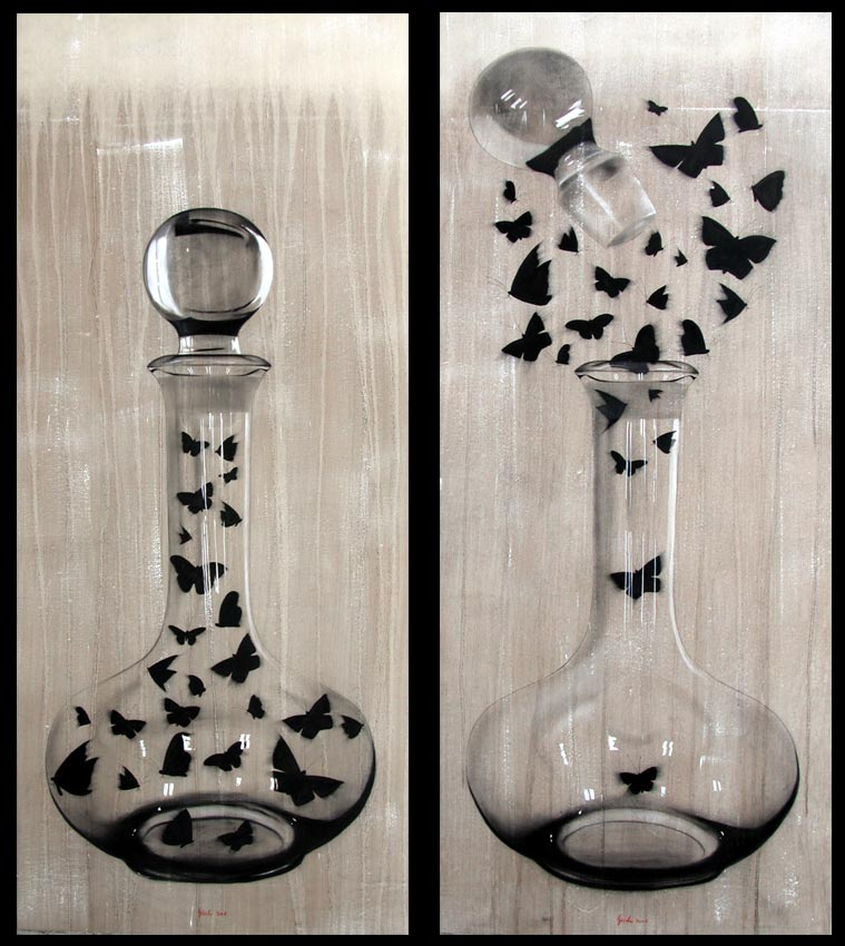 The Wine Spirit Carafe-butterfly Animal painting by Thierry Bisch pets wildlife artist painter canvas art decoration