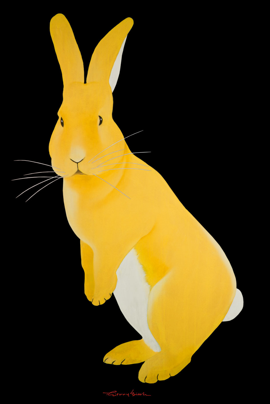 JOE RABBIT YELLOW RABBIT-FUNNY-RABBIT Animal painting by Thierry Bisch pets wildlife artist painter canvas art decoration