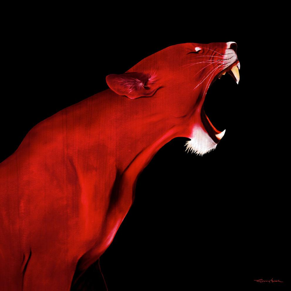 LIONESS RED LIONESS Thierry Bisch Animal Painter