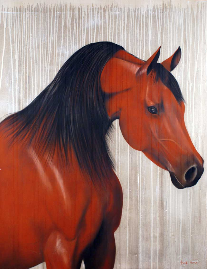 Red-Horse-3 arabian-thoroughbred-horse-rouge Animal painting by Thierry Bisch pets wildlife artist painter canvas art decoration