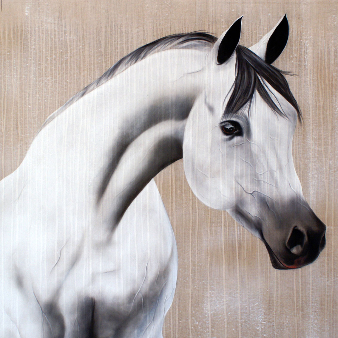 SAYAD horse-arabian-horse Animal painting by Thierry Bisch pets wildlife artist painter canvas art decoration