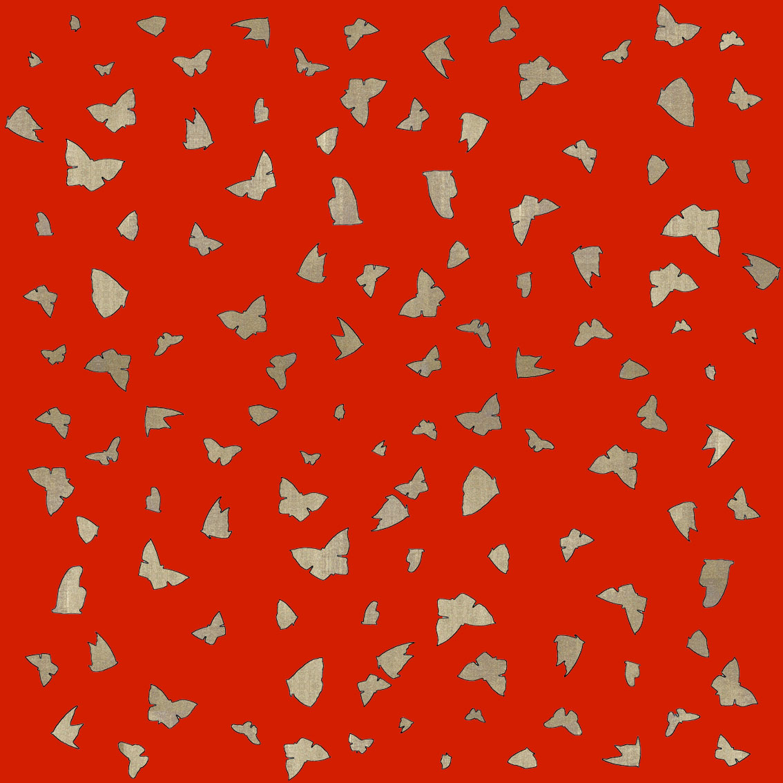 Golden Butterflies on Chinese Red divers Thierry Bisch Contemporary painter animals painting art decoration nature biodiversity conservation