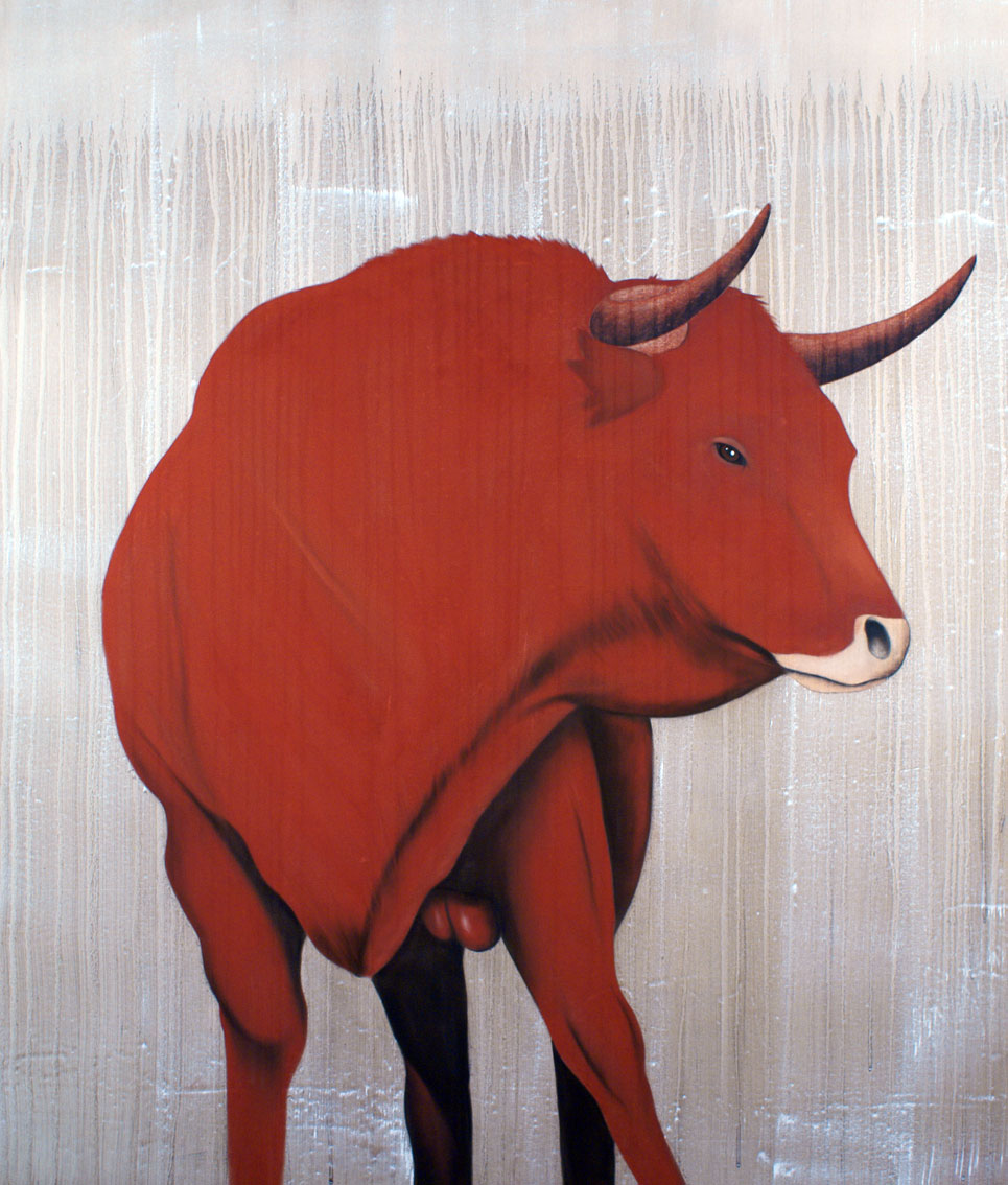 RED BULL-21 animal-painting Thierry Bisch painter animals painting art decoration hotel design interior luxury nature biodiversity conservation