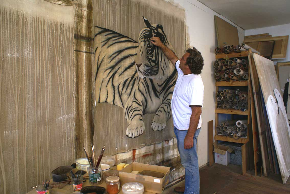 Tiger in progress Tiger Thierry Bisch painter animals painting art decoration hotel design interior luxury nature biodiversity conservation