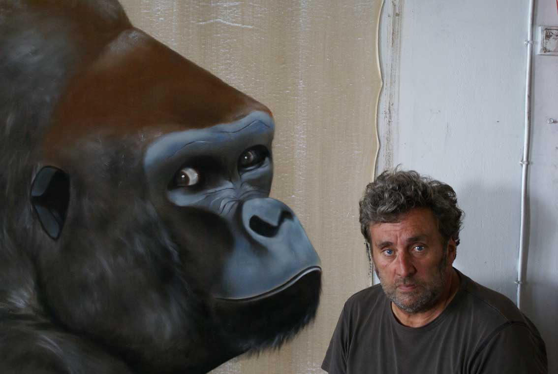 Les deux gorilles gorilla-silverback Thierry Bisch painter animals painting art decoration hotel design interior luxury nature biodiversity conservation