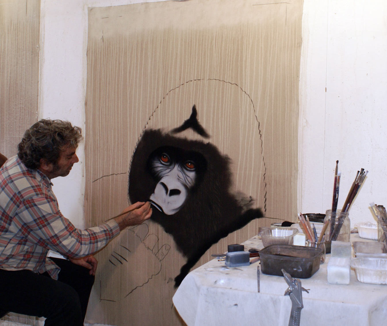 Gorille in progress gorilla-ape-monkey Thierry Bisch painter animals painting art decoration hotel design interior luxury nature biodiversity conservation