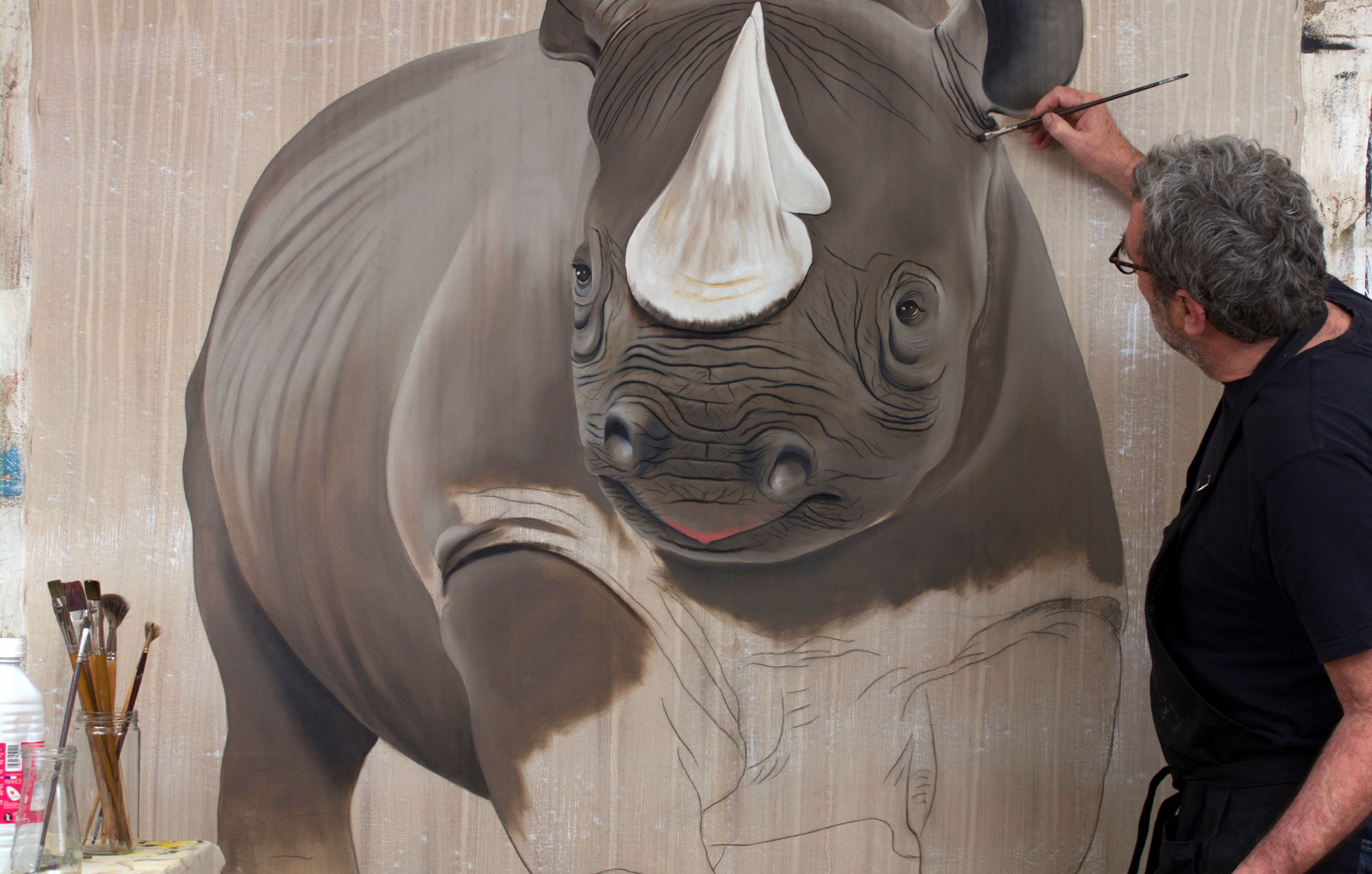 DICEROS BICORNIS studio rhinoceros-black-rhino-diceros-bicornis-threatened-endangered-extinction Thierry Bisch painter animals painting art decoration hotel design interior luxury nature biodiversity conservation